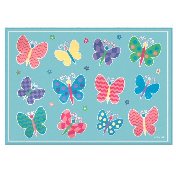 Olive Kids Butterfly Garden Blue Area Rug by Wildkin