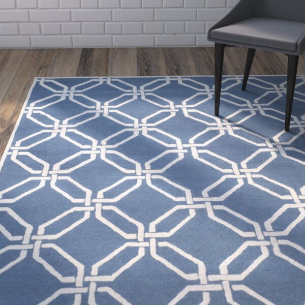 Martins Hand-Tufted Navy/Ivory Area Rug by Wrought Studio