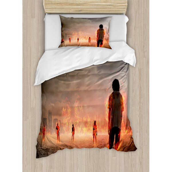 Group of People in Flame Duvet Set by East Urban Home