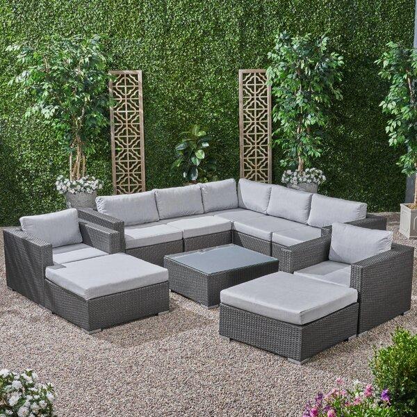 Roxann Outdoor 7 Seater Wicker Sectional Sofa Set with Sunbrella Cushions Brayden Studio W001583503
