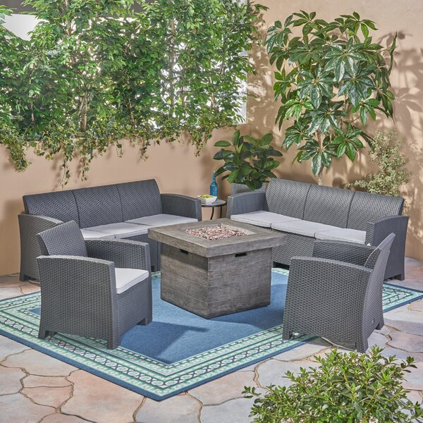 Babb Outdoor 5 Piece Rattan Print Sofa Seating Group with Cushions by Alcott Hill