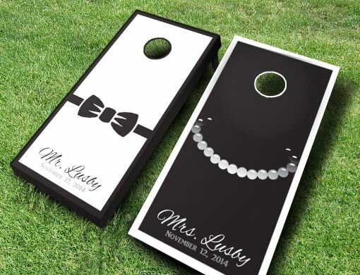 Wedding Tie and Necklace Cornhole Set by AJJ Cornhole