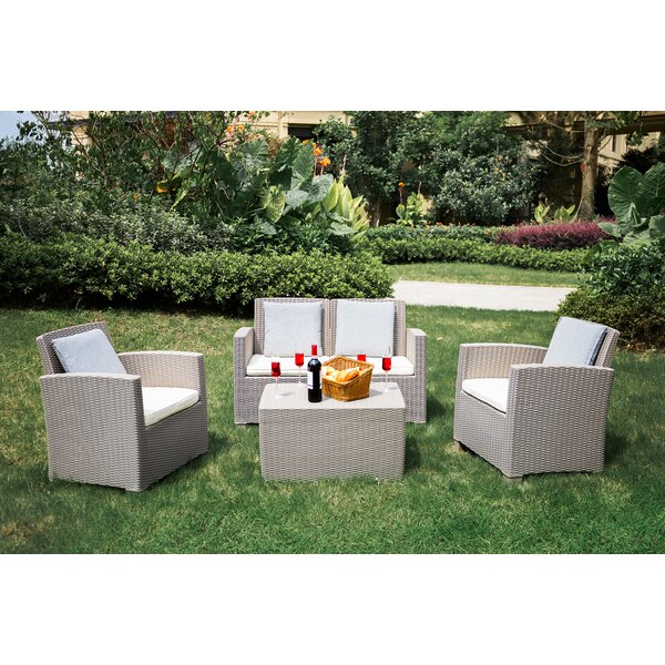 Fuller 4 Piece Sofa Seating Group with Cushions by Highland Dunes Highland Dunes