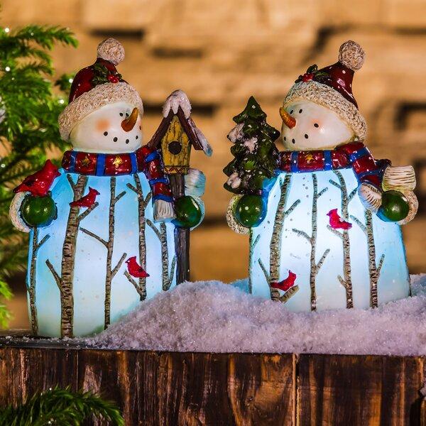 2 Piece Illuminated Battery Powered Winter Scene Snowman Statue Set by Alcott Hill