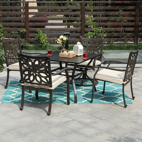 Rouleau Furniture 5 Piece Dining Set with Cushions by Fleur De Lis Living