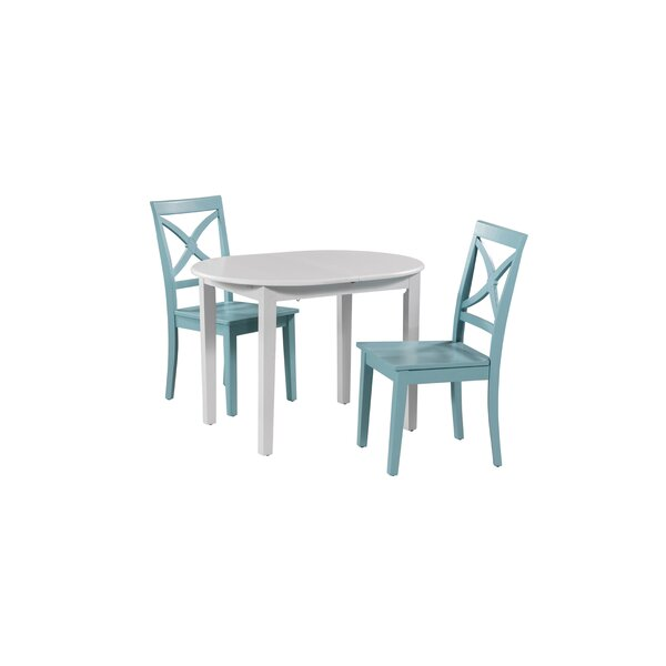 Leslie 3 Piece Extendable Solid Wood Dining Set by Highland Dunes Highland Dunes