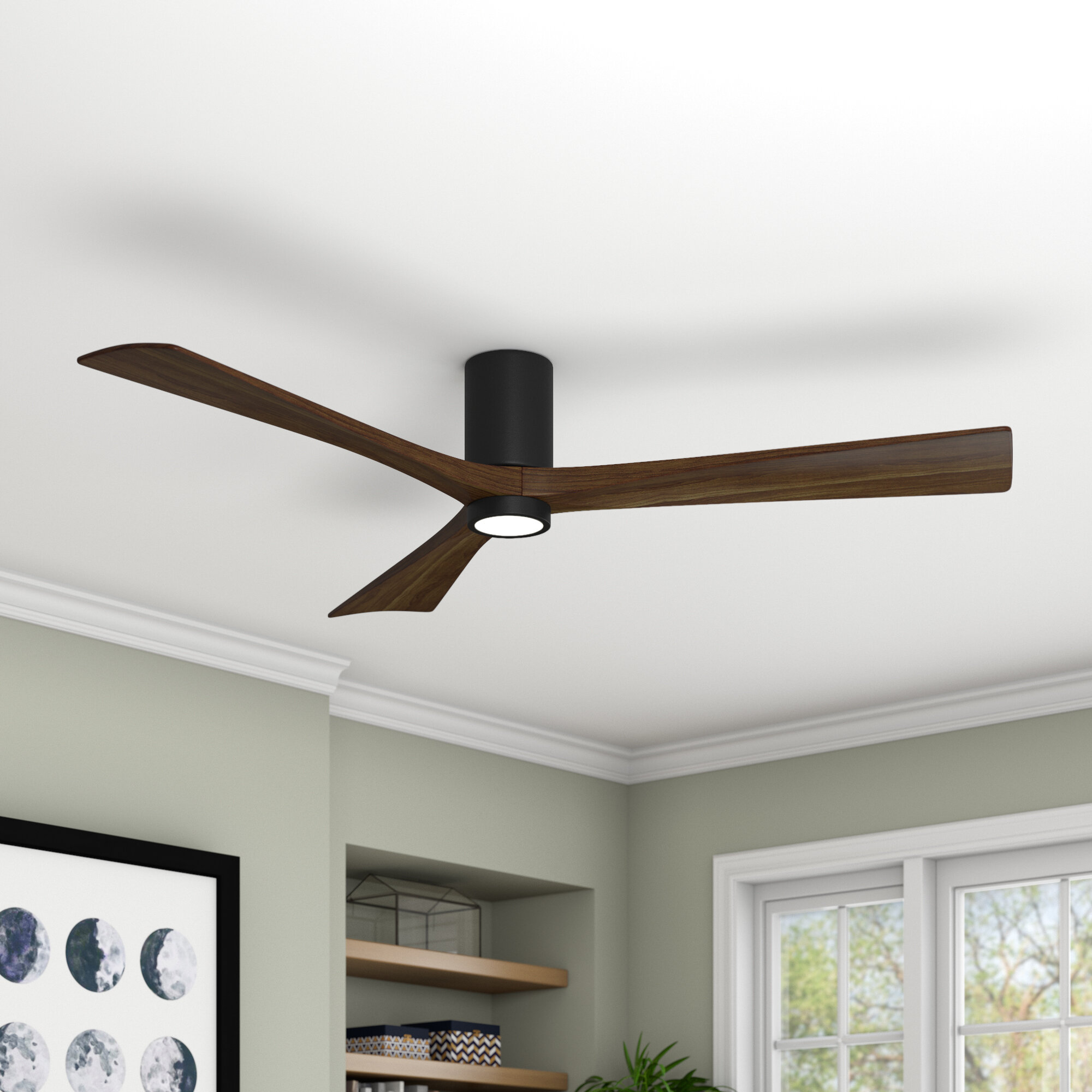 Wade Logan 60 Rosalind 3 Blade Hugger Ceiling Fan With Wall Remote And Light Kit Reviews Wayfair Ca