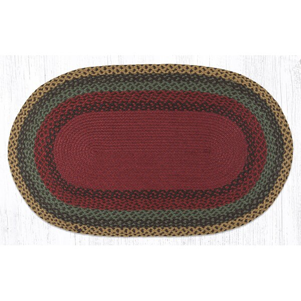 Burgundy/Green/Sunflower Braided Area Rug by Earth Rugs