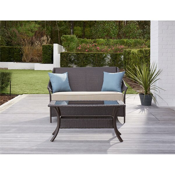 Ismay 2 Piece Rattan Sofa Set with Cushions by Greyleigh