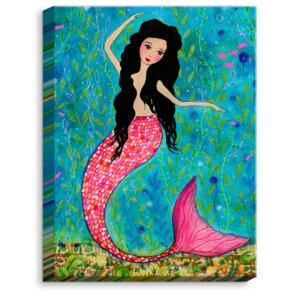 'Dancing Mermaid' by Sascalia Painting Print on Wrapped Canvas by DiaNoche Designs