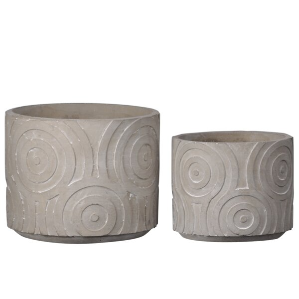 Sindy Round 2 Piece Cement Pot Planter Set by Gracie Oaks