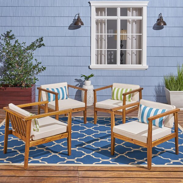 Adalhard Teak Patio Chair (Set of 4) by Ivy Bronx Ivy Bronx