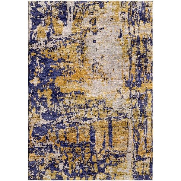 Ashford Handloom Gold/Blue Area Rug by Ivy Bronx