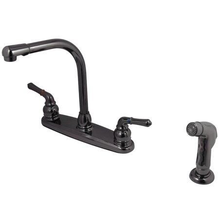 Water Onyx Double Handle Kitchen Faucet with Side Spray by Kingston Brass
