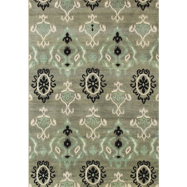 Hand-Tufted Green Ikat Area Rug by The Conestoga Trading Co.