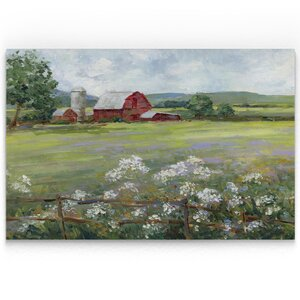 'Summer at the Farm' Oil Painting Print on Wrapped Canvas by Red Barrel Studio