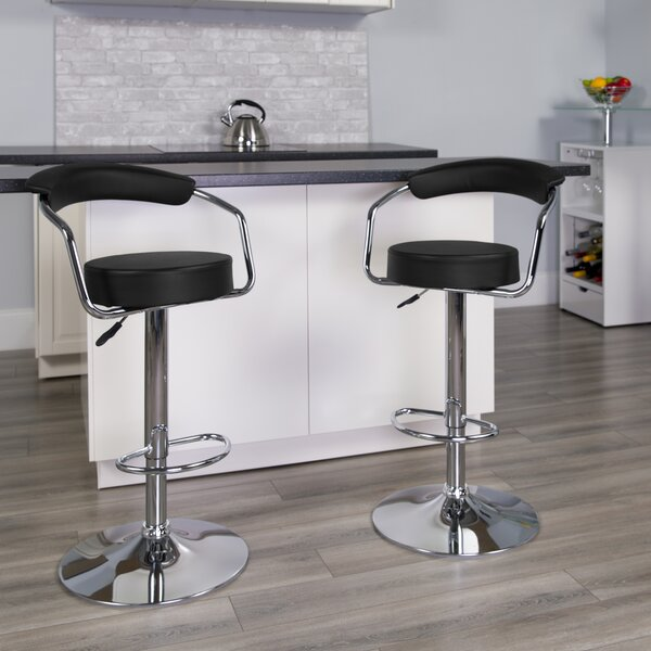 Damian Adjustable Height Swivel Bar Stool (Set of 2) by Wrought Studio Wrought Studio