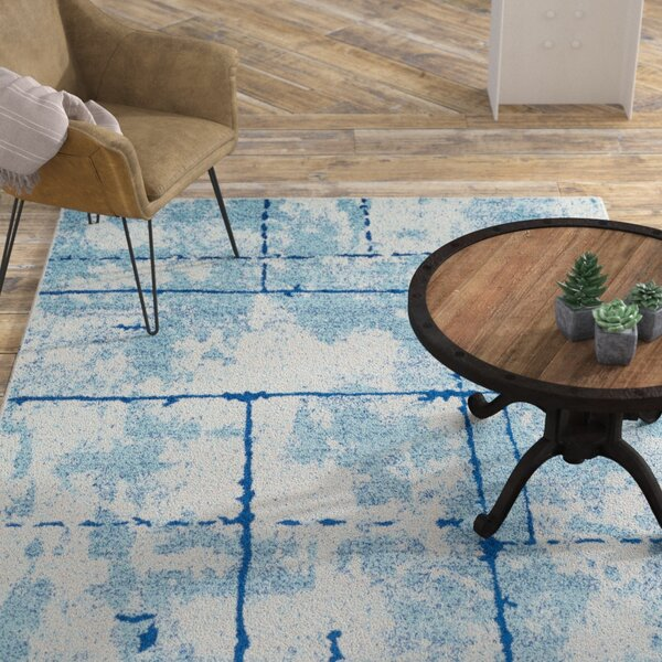 Cateline Distressed Navy/Light Blue Area Rug by Williston Forge