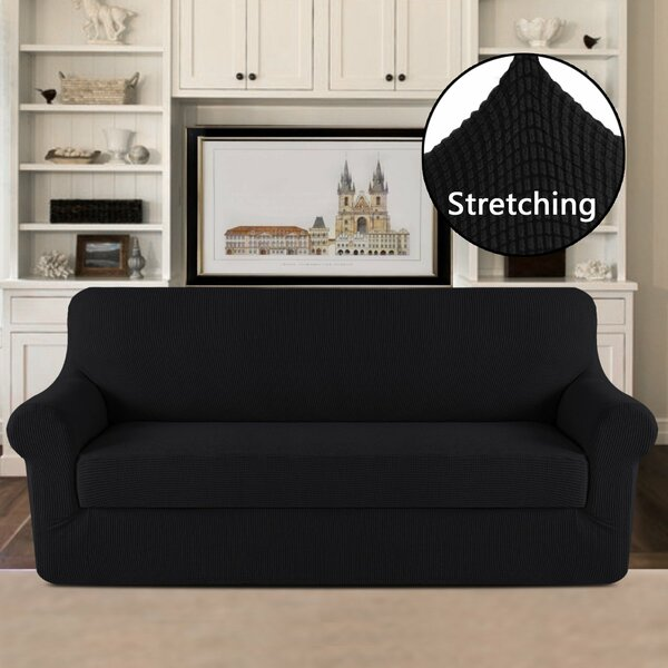 Free S&H 2 Piece Jacquard Stretch Fit Leather-Safe Sofa Slipcover