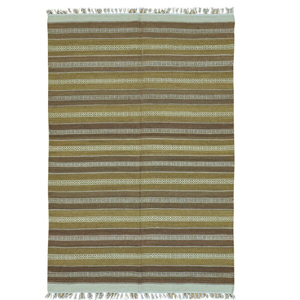 Striped Durie Kilim Flat Weave Oriental Hand-Knotted Brown/Mustard Area Rug by Bloomsbury Market
