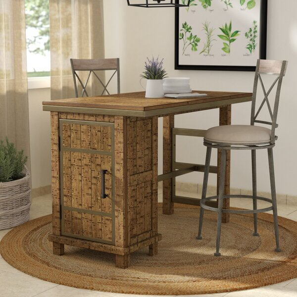 Desjardins Rectangular Counter Height Dining Table with Storage by Laurel Foundry Modern Farmhouse