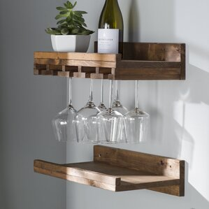 Tristen Rustic Wall Mounted Wine Glass Rack (Set of 2) by Loon Peak