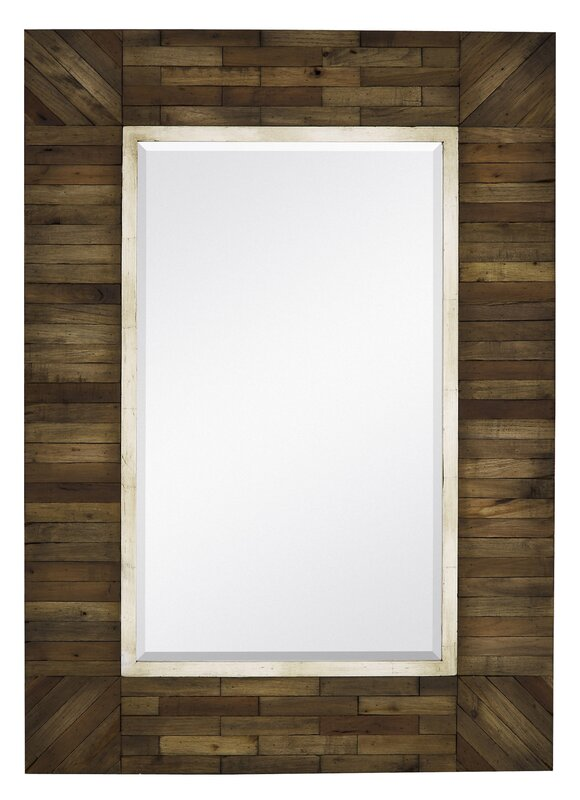 mirror with country style natural wood frame - Natural Wood Frame
