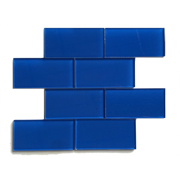 Premium Series 3 x 6 Glass Mosaic Tile in Glossy True Blue by WS Tiles
