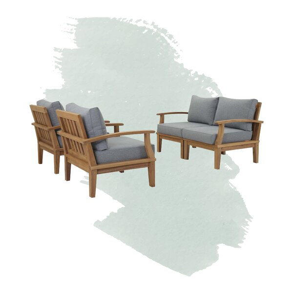 Anthony Outdoor Patio 4 Piece Teak Sofa Seating Group with Cushions by Foundstone