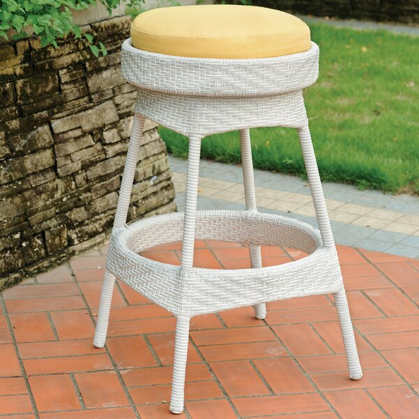 Enno Patio Bar Stool with Cushion by Highland Dunes