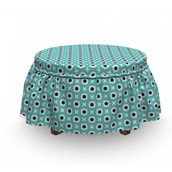 Abstract Ornaments Dots Ottoman Slipcover (Set Of 2) By East Urban Home
