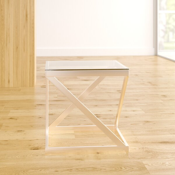Horncastle Glass Top Abstract End Table By Wade Logan