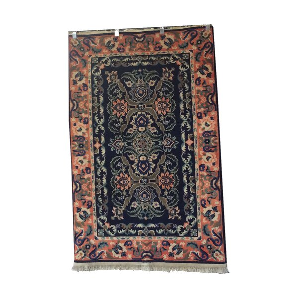 One-of-a-Kind Luzerne Hand-Knotted Wool Navy Blue/Peach Area Rug by Astoria Grand