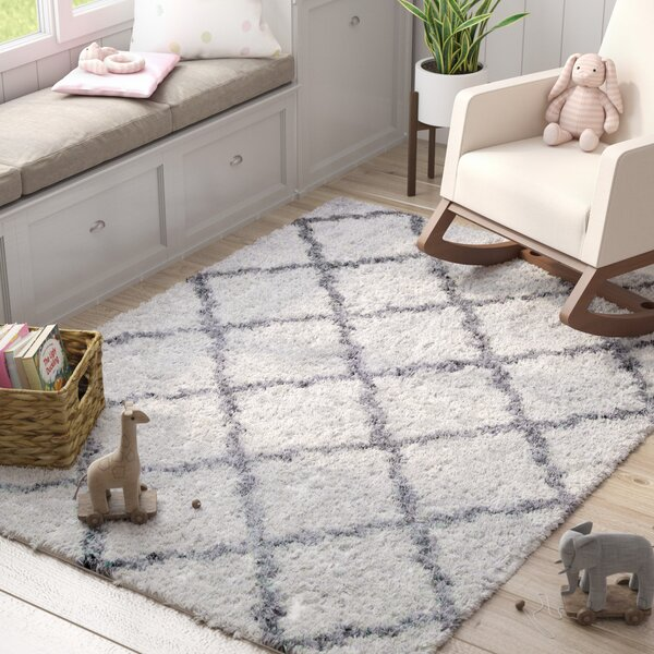 Abbey Ivory Gray Area Rug by Harriet Bee