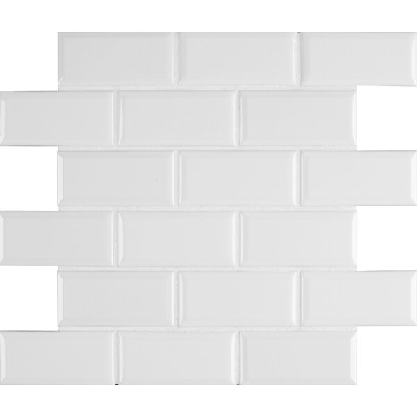 Glazed Mesh Mounted 2 x 4 Beveled Ceramic Mosaic Tile in White by MSI