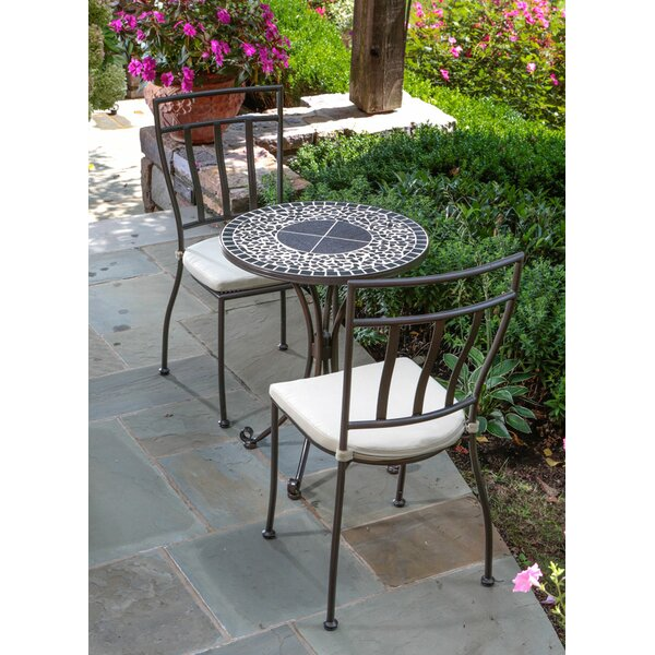 Wilhite Mosaic 3 Piece Bistro Set with Cushions by Fleur De Lis Living