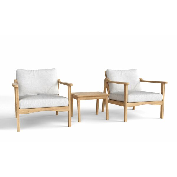 Thorin Relax Deep 3 Piece Teak Seating Group with Sunbrella Cushions by Rosecliff Heights