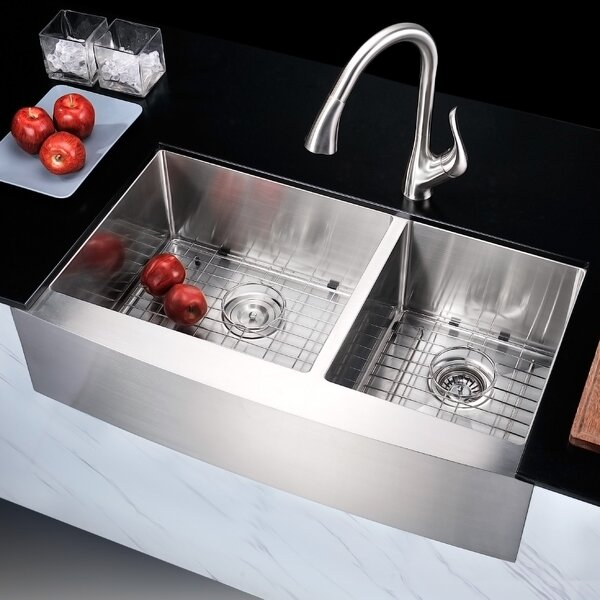 Elysian 35.88 L x 20.75 W Double Bowl Farmhouse Kitchen Sink with Drain Assembly by ANZZI