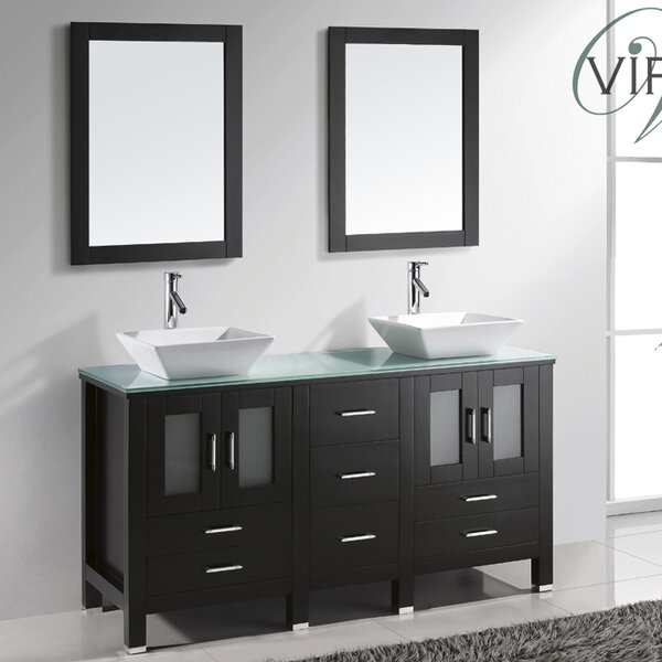 Millett 60 Double Bathroom Vanity Set with Tempered Glass Top and Mirror by Latitude Run