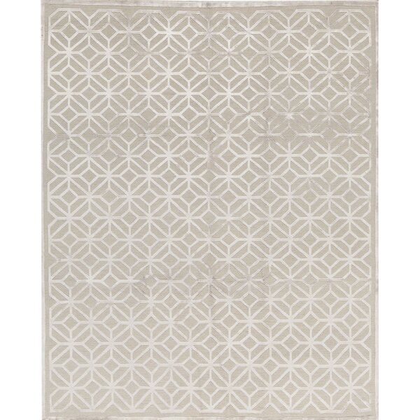 Windsom Geometric Hand-Knotted Silver Area Rug