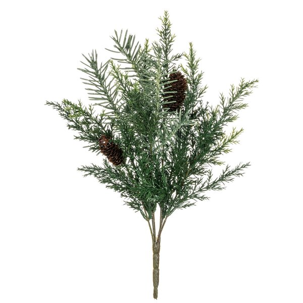Prickly Pine Bush Foliage Stem (Set of 4) by The Holiday Aisle