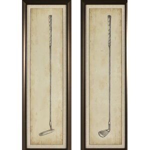 'Vintage Golf Clubs' 2 Piece Framed Graphic Art Print Set by Darby Home Co