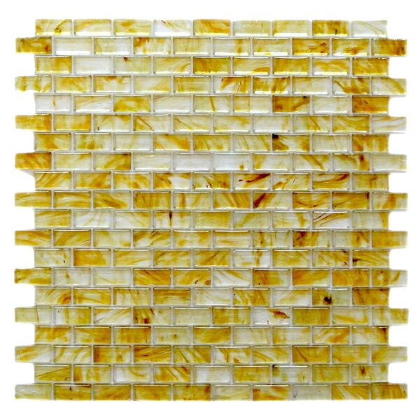 Amber 0.63 x 1.25 Glass Mosaic Tile in Glazed Brushed Gold by Abolos