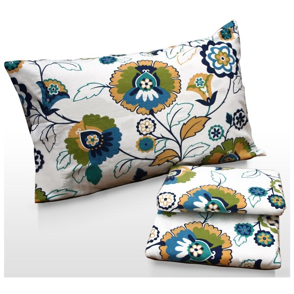 Modern Floral Printed Sheet Set by Tribeca Living