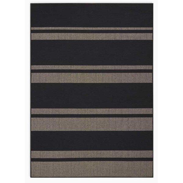 San Diego CK730 Striped Handwoven Flatweave Black/Beige Area Rug by Calvin Klein