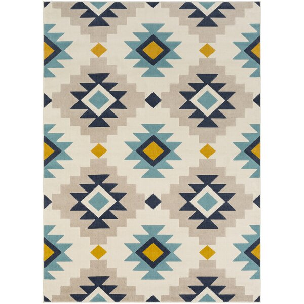 Schafer Aqua/Beige Area Rug by Union Rustic