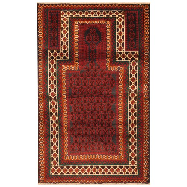 One-of-a-Kind Prentice Hand-Knotted Wool Navy/Red Area Rug by Isabelline
