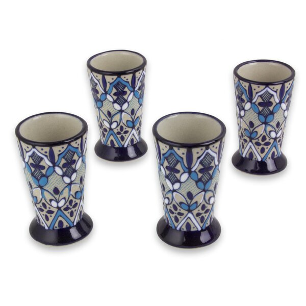 Esposito Blue Bajio Ceramic 2 oz. Ceramic Shot Glasses (Set of 4) by Winston Porter