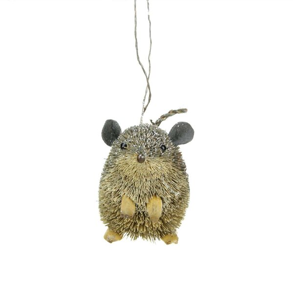 Bristled Gray/Green Mouse Christmas Hanging Figurine by Loon Peak