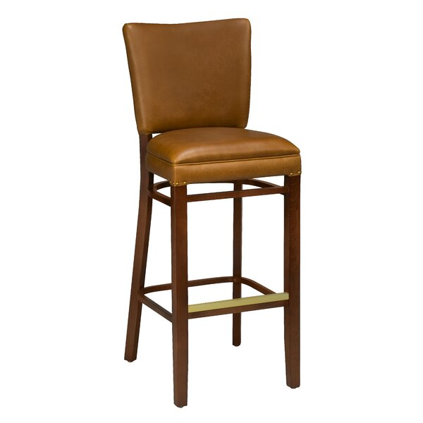 Chesebrough Beechwood Upholstered Seat Bar Stool by Loon Peak